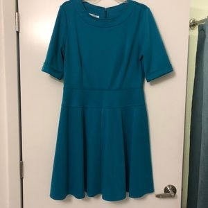 Turquoise 3/4 Length Sleeve Polyester Dress